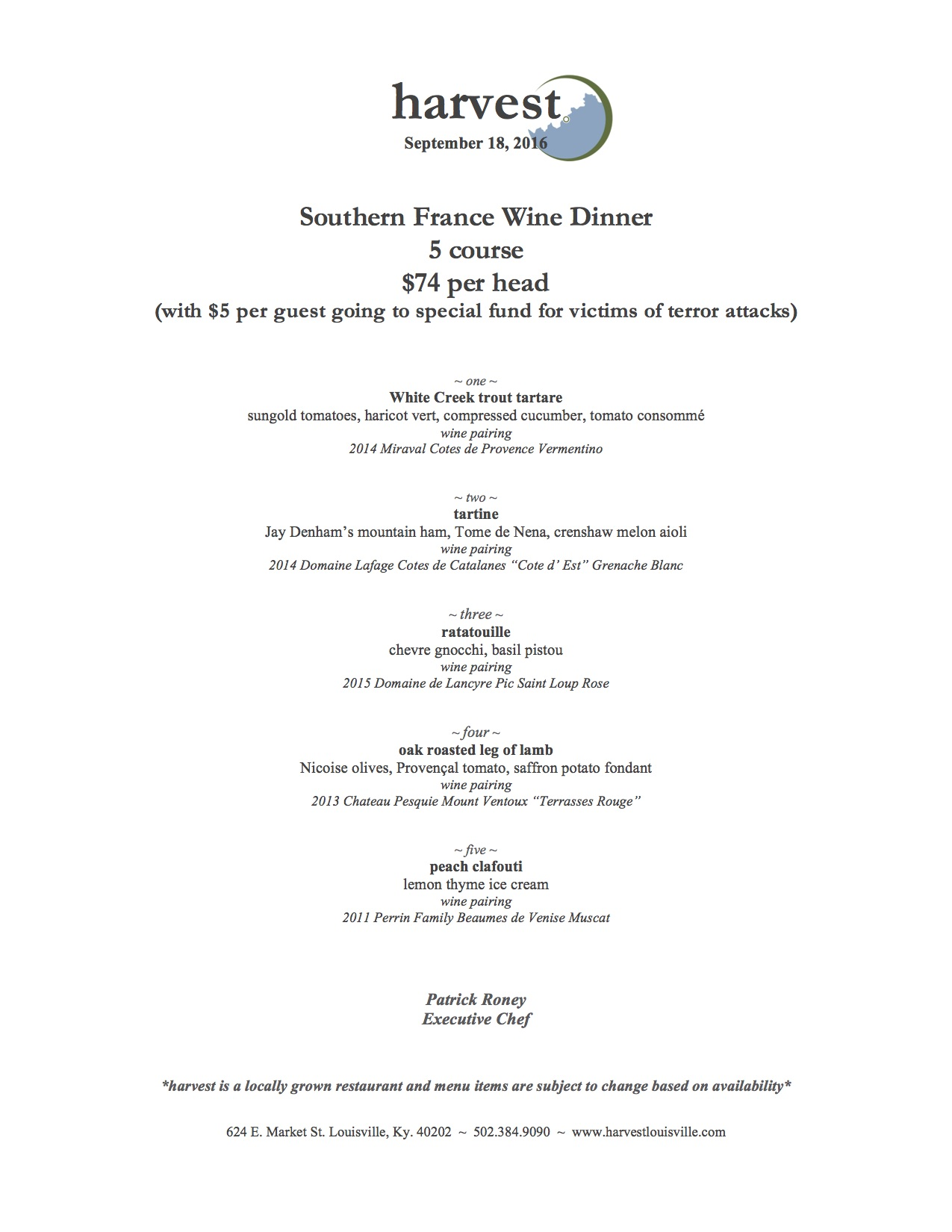 harvest restaurant special southern france wine dinner